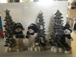 Set of 3 Home Interior Snowman And Christmas Tree Figurines Blue & Silver