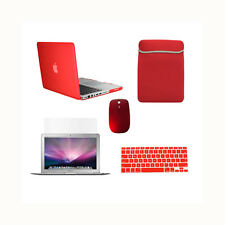 "5 in 1 Rubberized RED Case for Macbook PRO 15""+Key Cover+LCD +Sleeve Bag + Mouse"