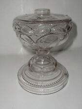 "Antique EAPG Pattern Glass PEANUT 9"" Oil Lamp 1890s"