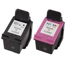 Reilled Ink Cartridges for HP 901XL CC654A + HP 901 CC656A for Officejet J4580