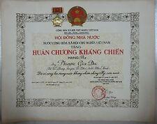 Vietnam NVA VC Resistance Order 3rd Class & its Certification Võ Chí Công Signed