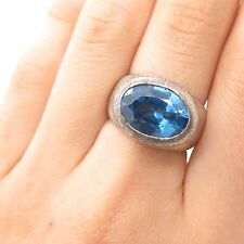 Vtg 925 Sterling Silver Real Blue Topaz Gemstone Large Ring Size 6 3/4