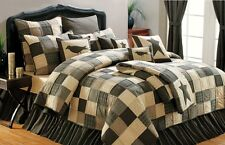 KETTLE GROVE Twin QUILT : PRIMITIVE AMERICANA STAR BLACK BROWN COMFORTER