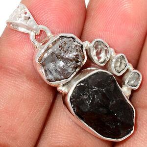 Russian Shungite & Meteorite Campo Del Cielo 925 Silver Pendant Jewelry BP75836