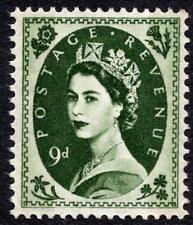 QEII 1959 9d Spec S126 Bronze-Green on Cream Paper Wilding Definitive MNH