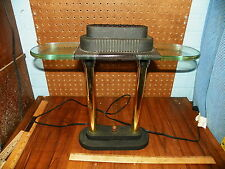 Vintage Art Deco Black Desk Lamp w Brass & Glass Wings - 150W Halogen
