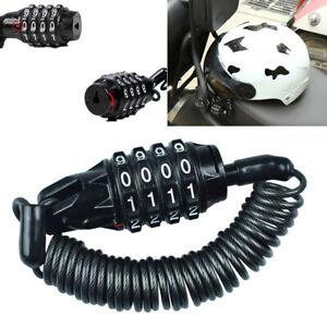 Motorcycle Helmet Lock Cable Black Tough Combination 4 Digit Password Anti-theft
