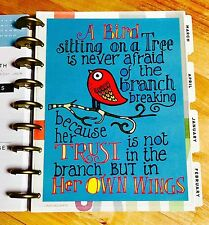 Bird Trust Quote Two Sided Dashboard Insert for use with Happy Planner