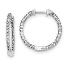 14k White Gold Genuine Diamonds 0.63ct G-SI1 Inside Out Design Hoop Earrings