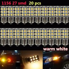 20X Warm White 1156 BA15S LED 5050 27-SMD Light bulbs Tail Backup RV Camper 12V