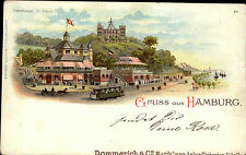 Amburgo ~ 1900 Fährhaus Sankt Pauli TRAM FERROVIA fiume Elba Seewarte persone