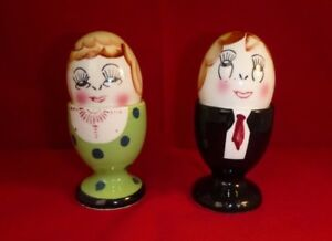 Vtg Trimont Anthropomorphic Egghead Cup Man Woman Salt & Pepper Shakers Japan