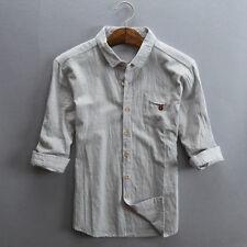 Men Linen 3/4 Sleeve Breathable Vintage Casual Shirt Top Soft Ethnic Plus Size