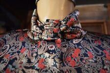 LESLEY FAY Womens Mock Turtleneck Blouse Long Sleeves Paisley Print Shiny 12P