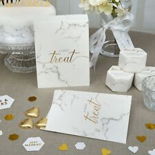 Pack 25 Candy Bar Buffet Sweetie Bags Wedding Favours Scripted Marble Fête