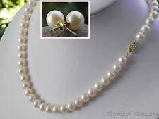 8-9mm AAA Grade (14k Solid Gold) White Cultured Pearl Necklace & Earrings