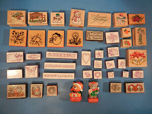 LOT OF 42 NEW & USED RUBBER STAMPS HERO ARTS ANM NOTEWORTHY AND MORE
