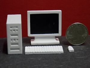 Dollhouse Miniature Modern Computer Set 4 pieces White 1:12 1 inch scale D7