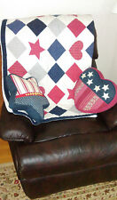 New listing Patriotic Throw Blanket Quilt + 2 Pillows Hand Quilted Patchwork 51 x 58 Cotton