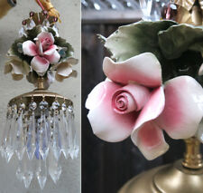 Porcelain ROSE pink Chandelier SWAG lamp Capodimonte Brass Vintage crystal canop