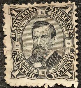 RARE U.S. 1864 One Cent Revenue Private Die H. Stanton Match Stamp