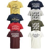 Mens T Shirt Jack & Jones Crew Neck Short Sleeve Casual Printed T-Shirt Tee Tops