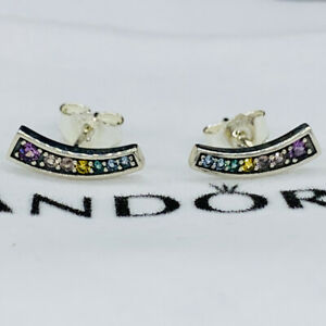 New pandora Rainbow Arcs Of Love Stud Earrings