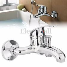 Bathroom Chrome Wall Mounted Hot Cold Dual outlet Spout Water Mixer Tap Faucet
