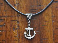 Anchor Antique Silver Pendant Leather Necklace Beach Surfing Diving Salt Life