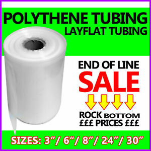 """CLEARANCE STOCK Layflat Clear Polythene Poly Tubing Tube Roll - 3"""" 6"""" 8"""" 24"""" 30"""""""
