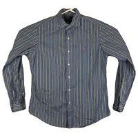 Mens L Polo Ralph Lauren Button Up Stanton Shirt Long Sleeve Striped Blue Green
