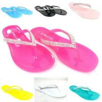 Women's Jelly Summer Shoes Flip Flop Thong Diamonds Sandals Slipper Flat Fashion