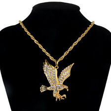 1Pcs Men Gold Plated Crystal 3D Eagle Pendant Necklace Jewelry Ornament Gift