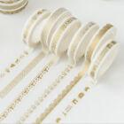 5pcs Gold Plated Washi Paper Masking Adhesive Tapes Decorative DIY Tape 0.8cm*7m