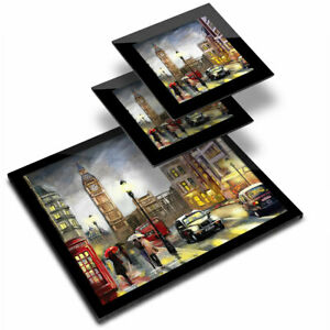 Glass Placemat  & 2x Coaster  - London England Oil Painting Style  #21805