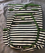 Ame & Lulu Tennis Kingsley Back Pack Racquet Bag Navy Blue Green White