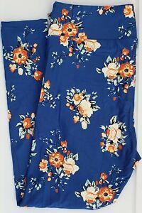 TC2 LuLaRoe Tall & Curvy2 Leggings Cute Roses on Blue Flowers NWT G52