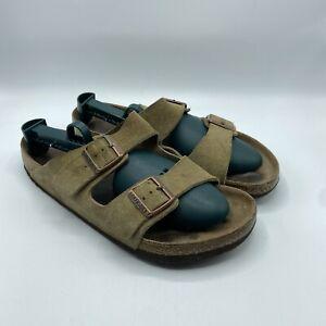 Birkenstock Arizona Sandals Mens US 11 EU 44 Olive Green Suede