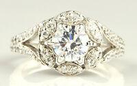 2,50 Karat Runden Form 585er Solide Echt Weiß Gold Solitär Verlobung Ring
