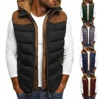 Men's Autumn Winter Wastcoat Solid Color Zipper Warm Down Hooded Vest Tops Coats