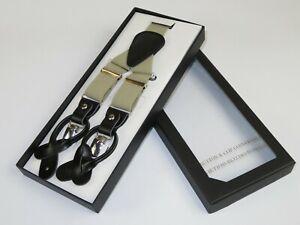 ELEGANT Suspenders Clip on and Button Option for Slacks or Suit Pants Tan Khaki