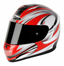 Nitro N1730 Full Face Motorbike Helmet Fibreglass Sharp 5 Star Red Silver XXL