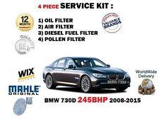 Para BMW 730D 245BHP 2993cc 2008-2015 Aceite Aire Combustible Kit De Servicio De Filtro De Polen 4