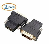 2Pack DVI to HDMI Adapter DVI-D (24+1 pin) Dual-Link for Nvidia ATI Video Card