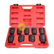 "9pc 1/2"" Drive Deep Impact Axle Hub Nut Socket Set 29-30-31-32-33-34-35-36-&38mm"