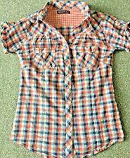 Women checked pink blue top shirt blouse