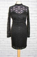 size 10 Jessica Simpson lace party dress high neck long sleeve wiggle black