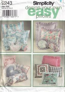 """Simplicity Sewing Pattern 9243 Cushions or Pillows """"Design Your Own"""" EASY New"""