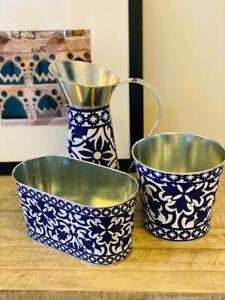 Planter Pot Jug Vase Pitcher Flower Metal Blue Portugese Print Table Centrepiece