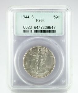 1944-S 50C Walking Liberty Half Dollar Graded by PCGS as MS64! Old Holder